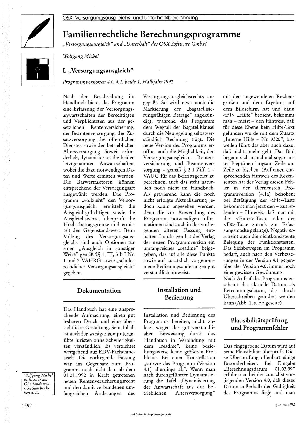 Michel, Wolfgang, Familienrechtliche Berechnungsprogramme