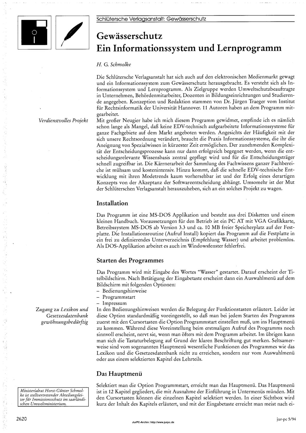 Schmolke, Horst-Günter, Gewässerschutz - Ein Informationssystem und